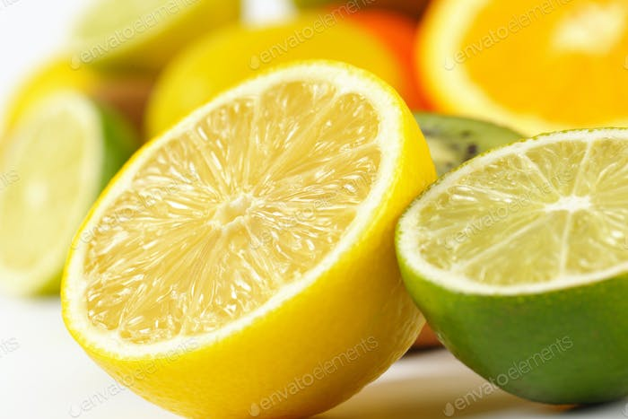 detail of lemon and lime