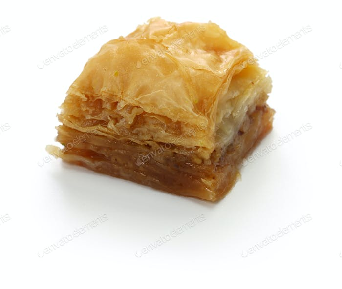 walnut baklava, turkish traditional dessert isolated on white background