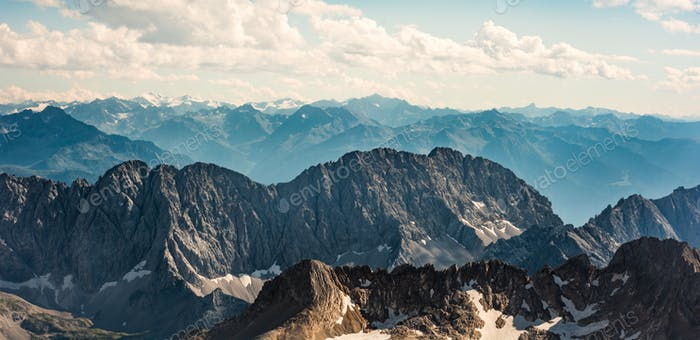 Zugspitze, Germany. Bewitching view of the mountain ranges