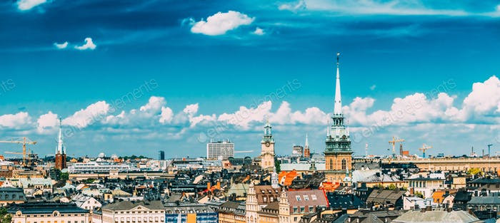 Stockholm, Sweden. Scenic summer scenery of the Old Town in Stoc