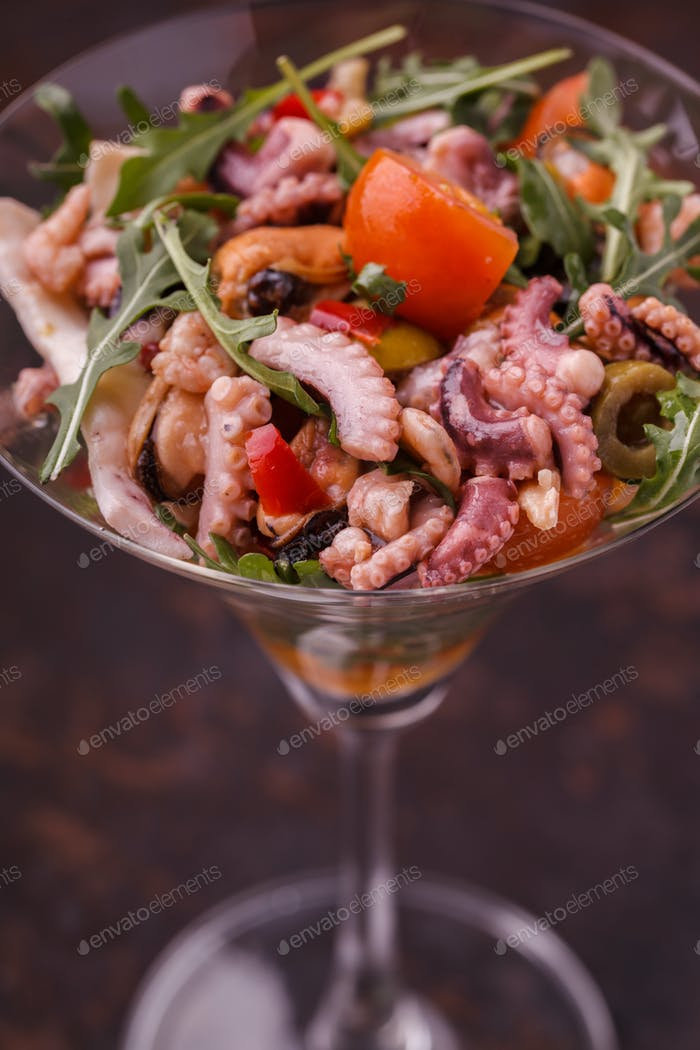 Sea salad in a glass.