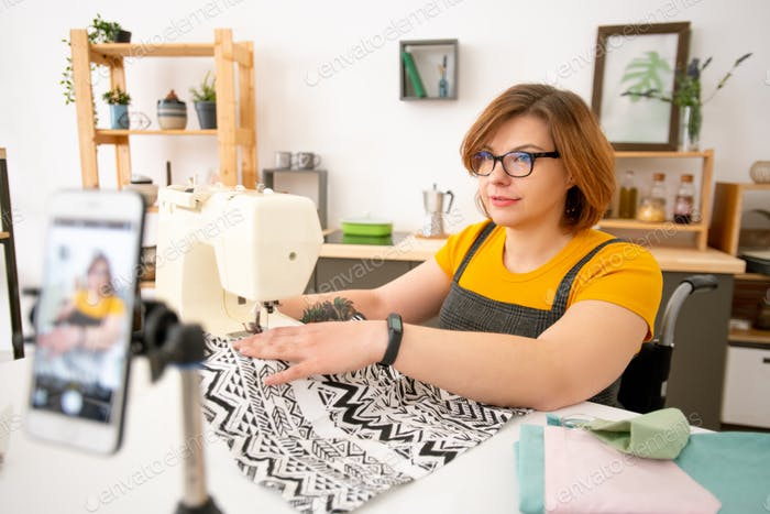 Giving online class on sewing