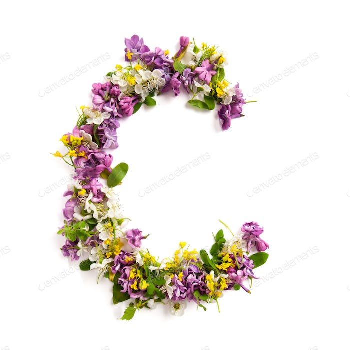 The letter «C» made of various natural small flowers.