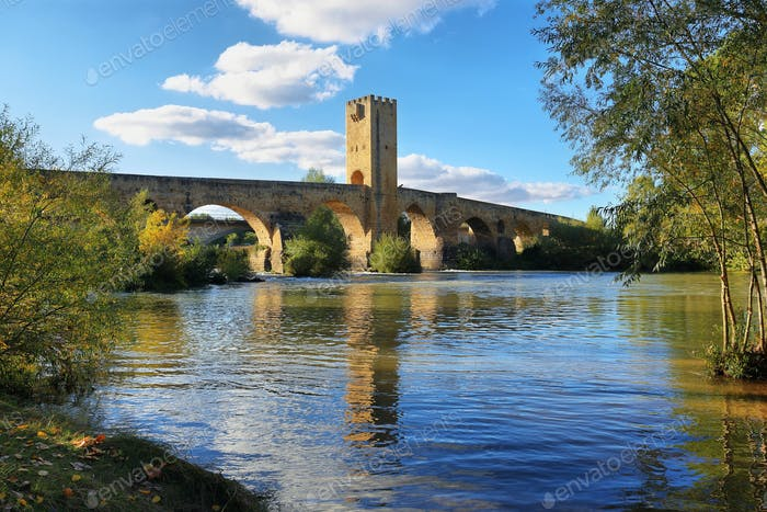 Medieval bridge over Ebro river in Frias, Burgos, Spain.