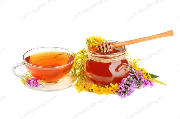 Flowers with tea and honey