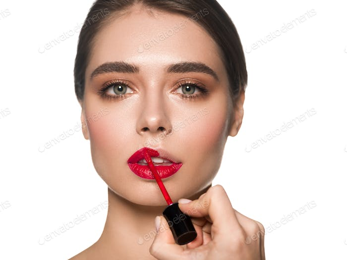 Red lips woman fashion make up beautiful eyes and face