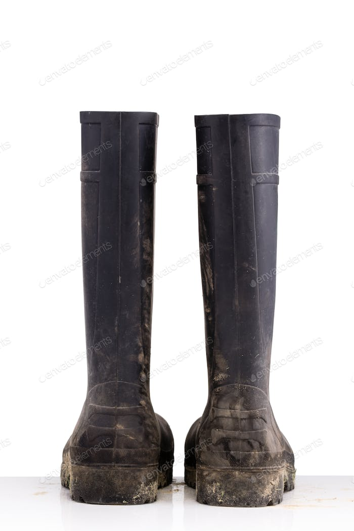 Dry dirty Mud boots isolated on pure white background back view