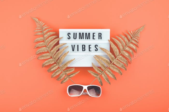 Summer luxury flat lay on coral background with Summer vibes text on light box, golden tropical