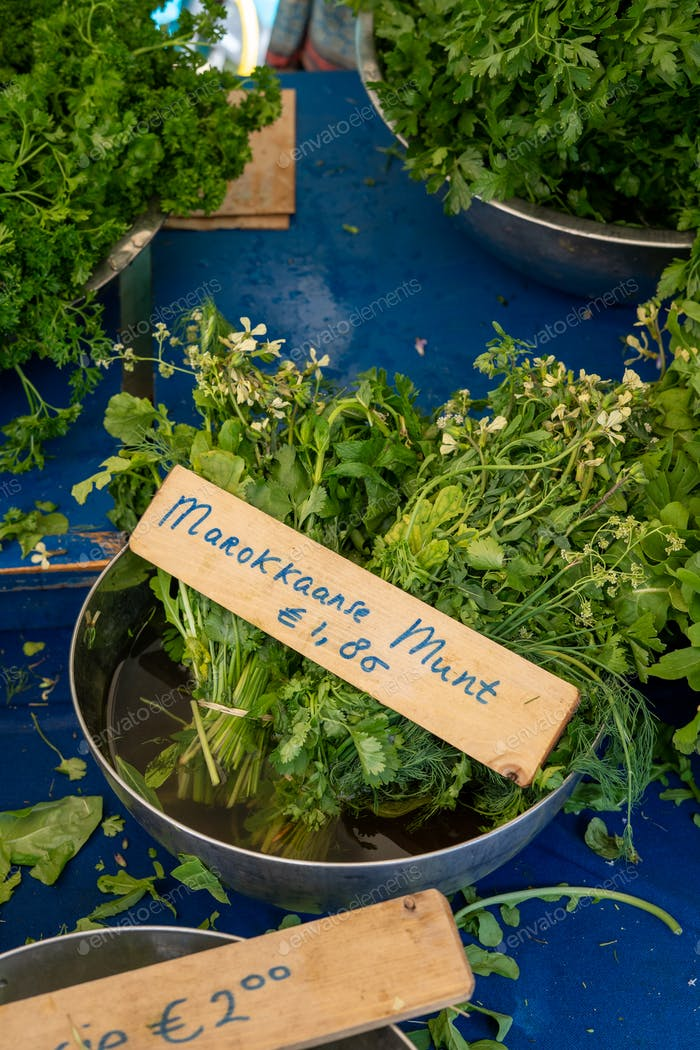A bowl of Moroccan mint (In Dutch: Marrokkaanse munt) at a market stall