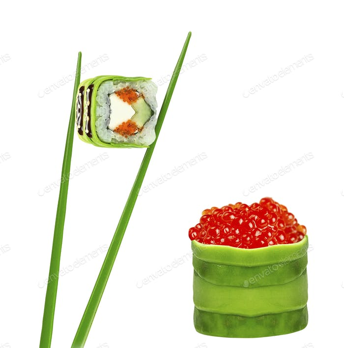 Sushi roll with chopsticks isolated