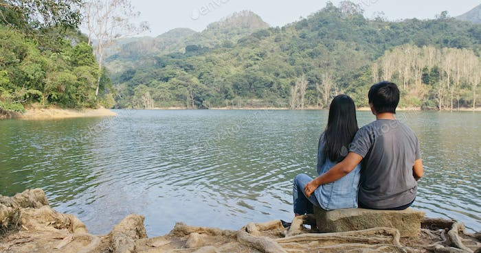 Couple enjoy the landscape view together