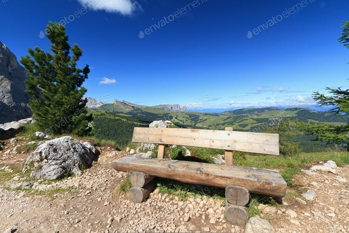 bench in Dolomites