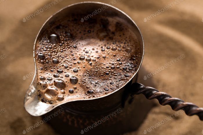 Coffee brewing in turkish pot