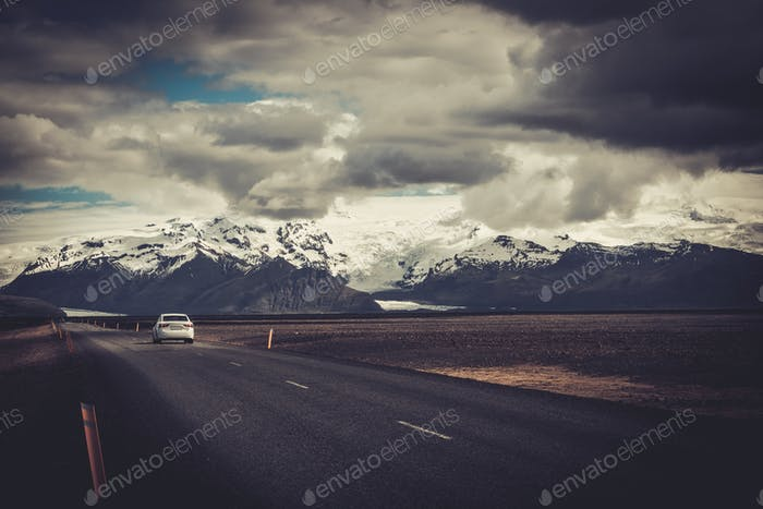 Car on a road in a national park