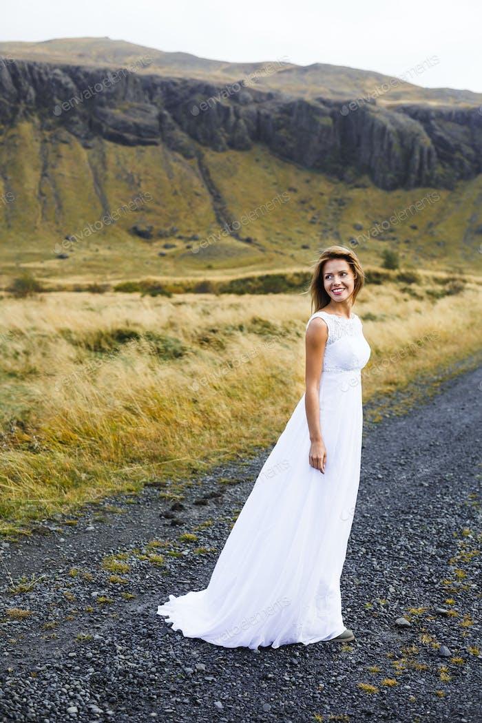 Girl in wedding gown