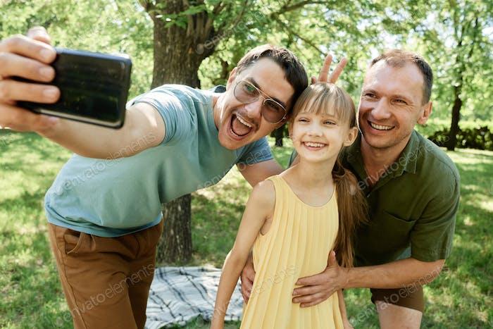 Selfie portrait of happy family