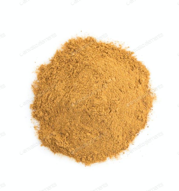 cinnamon powder on white