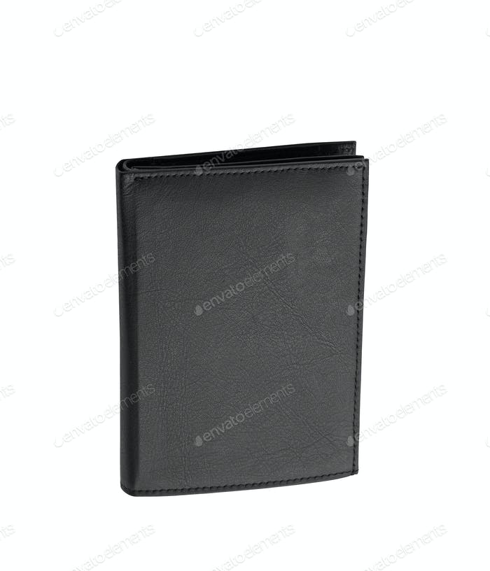 Black leather case on white background