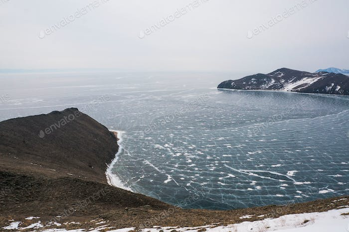 Scenic Landscape With Frozen Lake and Mountains, Russia, Lake Baikal