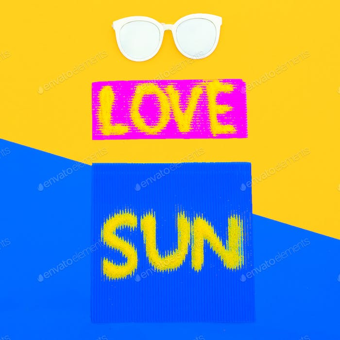 Love Sun Vibes set Sunglasses Minimal style art