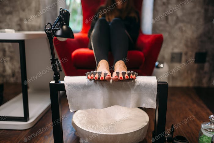 Female client on pedicure procedure, beauty salon