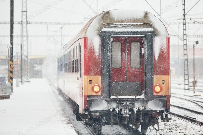 Railway during heavy snowfall