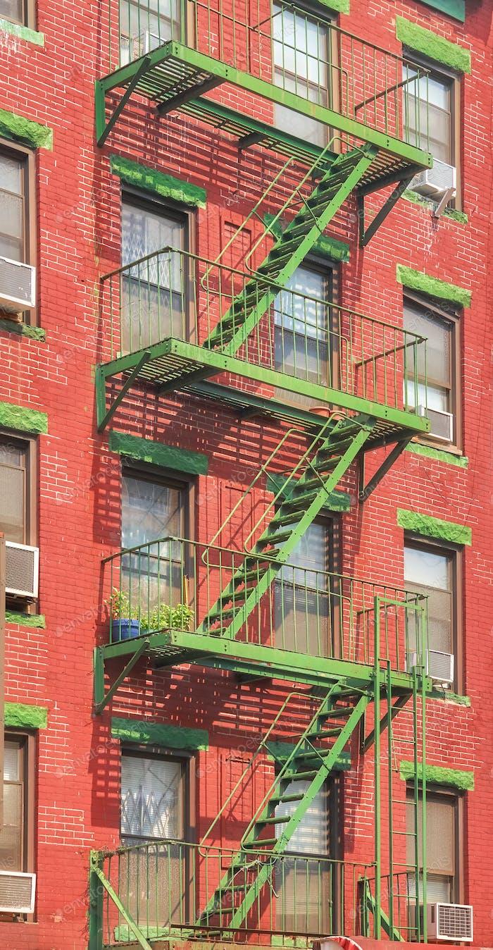 Green fire escape in New York CIty.