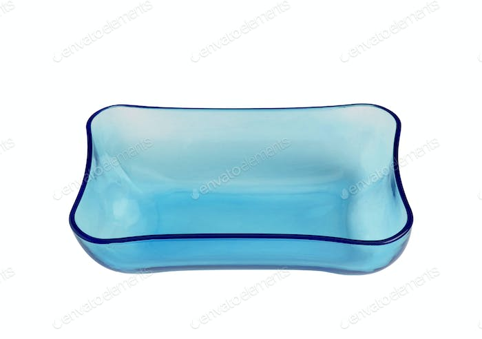 Blue glass bowl isolated on white background