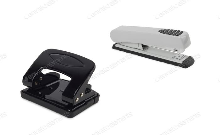 staplers on a white background
