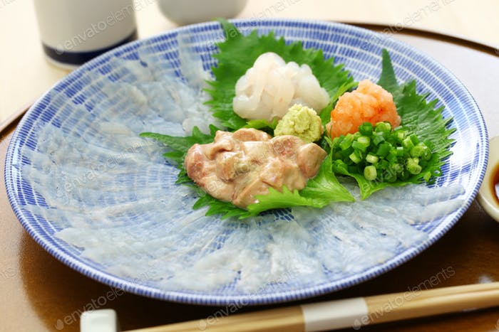 sashimi of kawahagi( thread-sail filefish ), Japanese cuisine