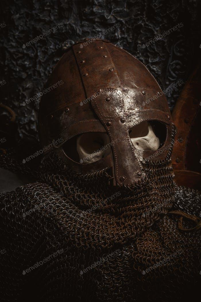 Man's skull in the helmet