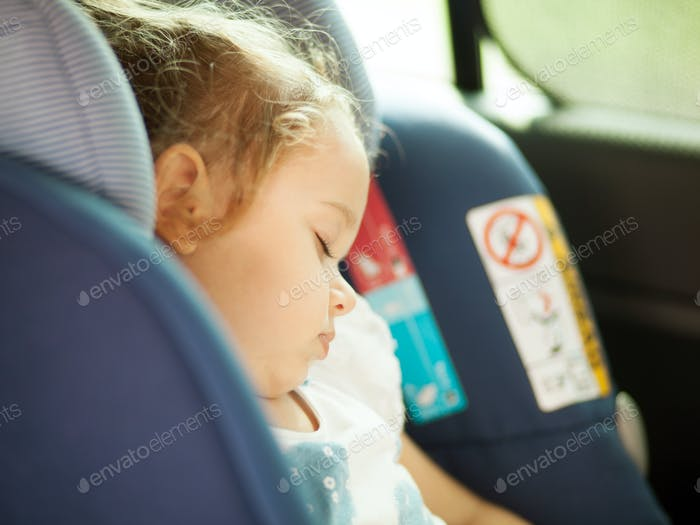 Safety Concept of baby in car seat.