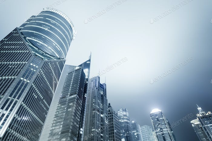 shanghai modern financial buildings skyline