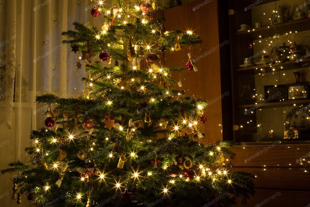 Nativity Scene Decoration Under Lighted Christmas Tree Photo By Hraska On Envato Elements