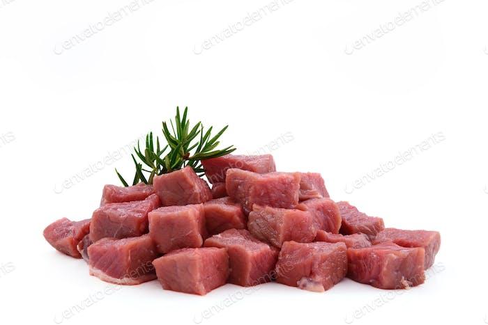 Raw meat, beef steak sliced in cubes