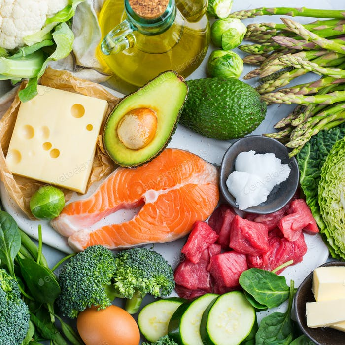 Healthy ketogenic low carb food for balanced diet