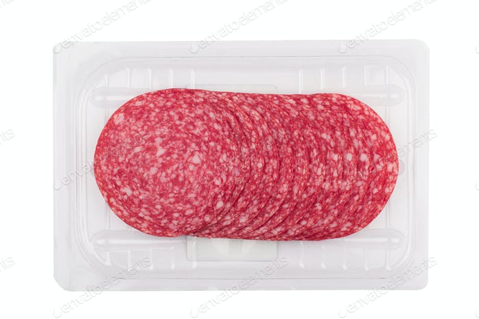 salami sausages packaging isolated on white