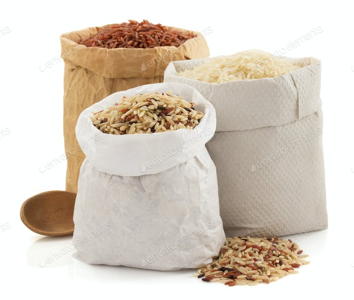 rice in paper bag