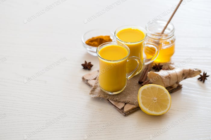 drink Turmeric tea for the treatment of coronavirus. Spicy healthy Haldi