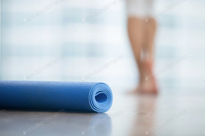 Close up of yoga, fitness mat