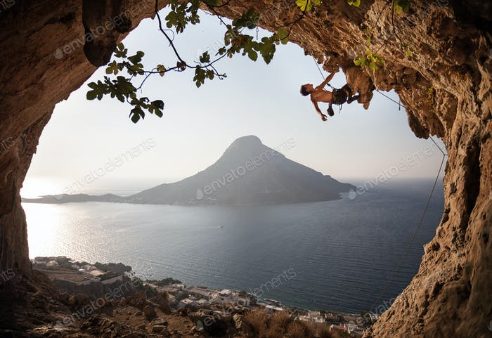 Rock climber on cliff. Kalymnos Island, Greece