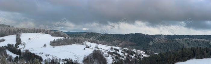 Winter landscape of Beski Sadecki mountain range