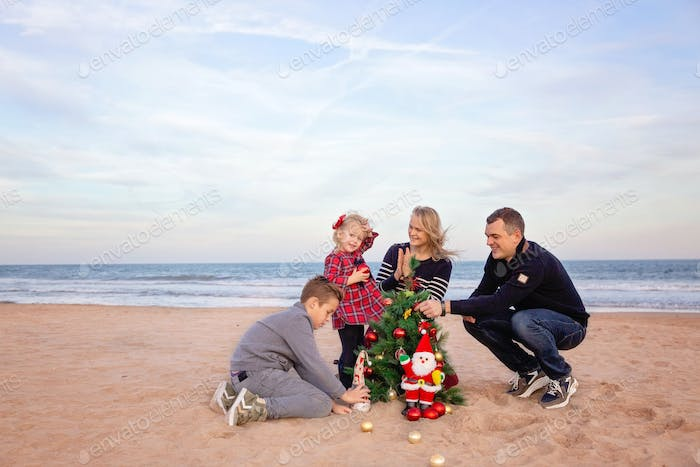 Final touches for Christmas party on the beach