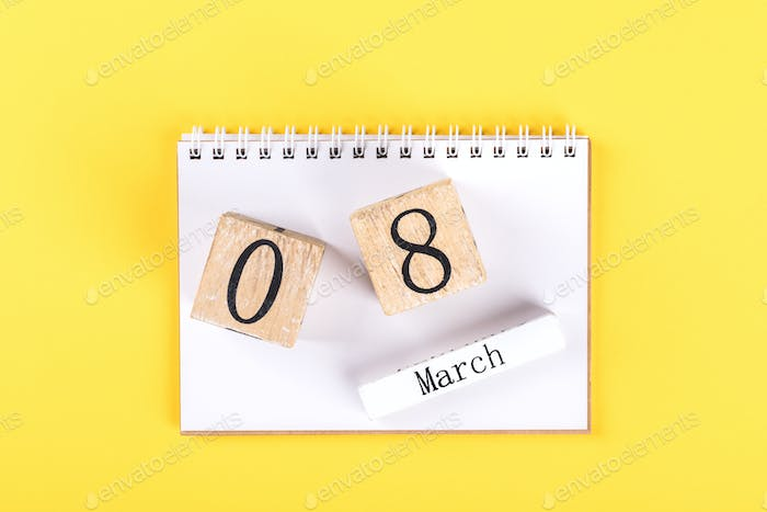 Wooden block calendar International of March 8