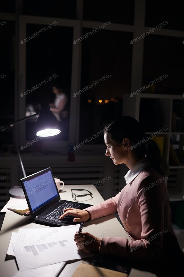 Businesswoman preparing for important presentation