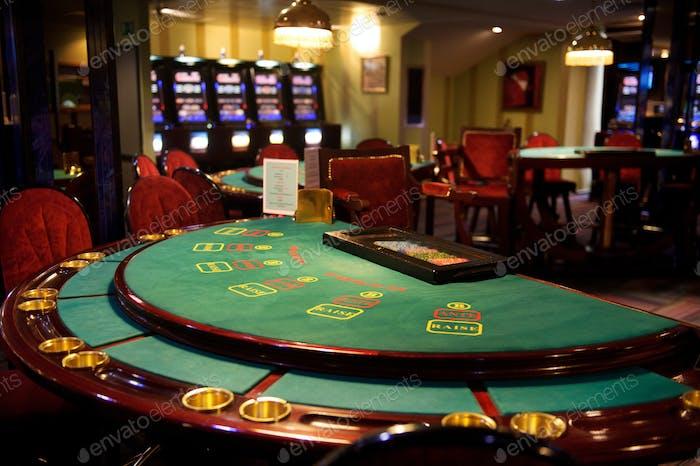 An empty blackjack table in a casino