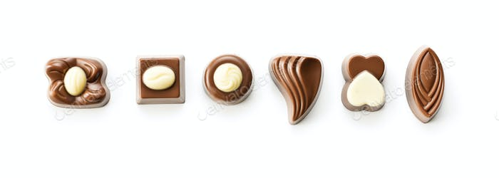 Various chocolate pralines