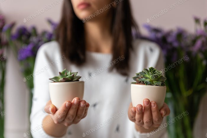 Woman holding succulent plants