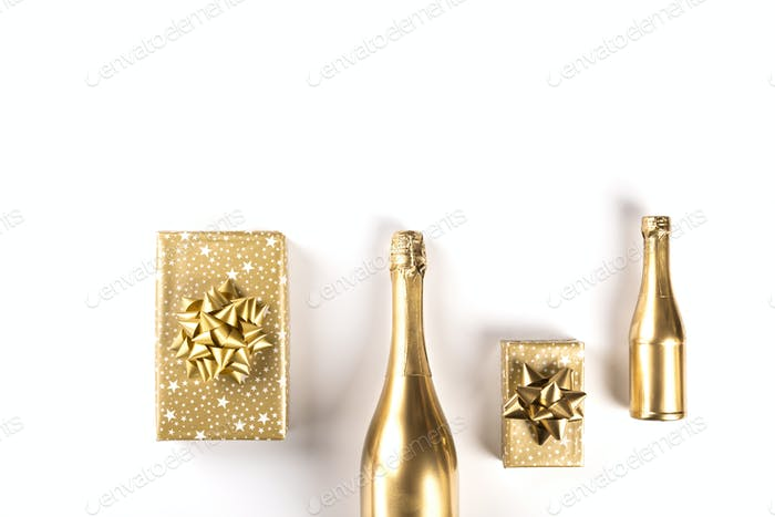 Decorated Bottle of Golden Champagne.Symbol of Christmas and New