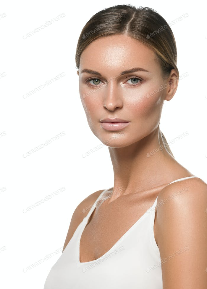 Natural make up healthy skin woman beauty isolated
